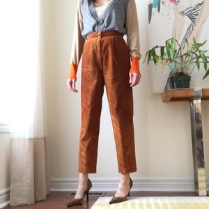 Danier brown genuine suede high rise tapered pants